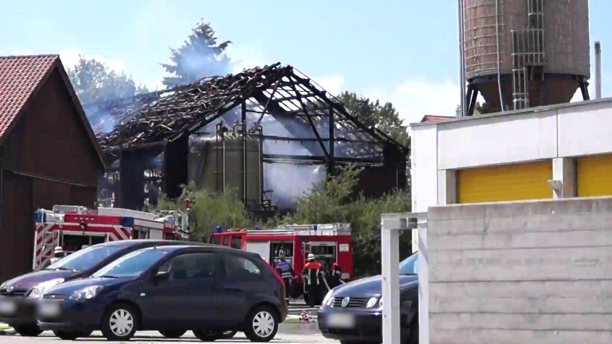 Feuer in einer Lagerhalle der Stadtmeisterei Feuchtwangen