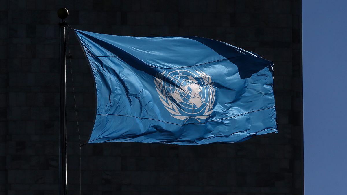 Flagge der UN vor dem Gebäude der Vereinten Nationen