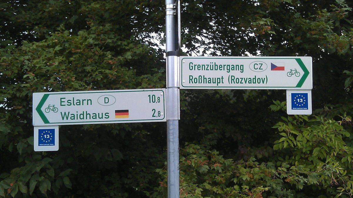 Radwanderweg über die Grenze Deutschland - Tschechien