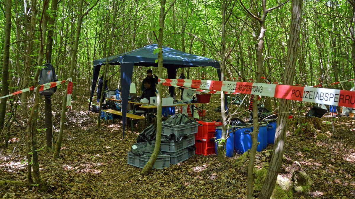 Spurensicherung vor Ort: In einem Wald bei Kipfenberg (Lkr. Eichstätt) sind die Skelette eines vermissten Paars gefunden worden
