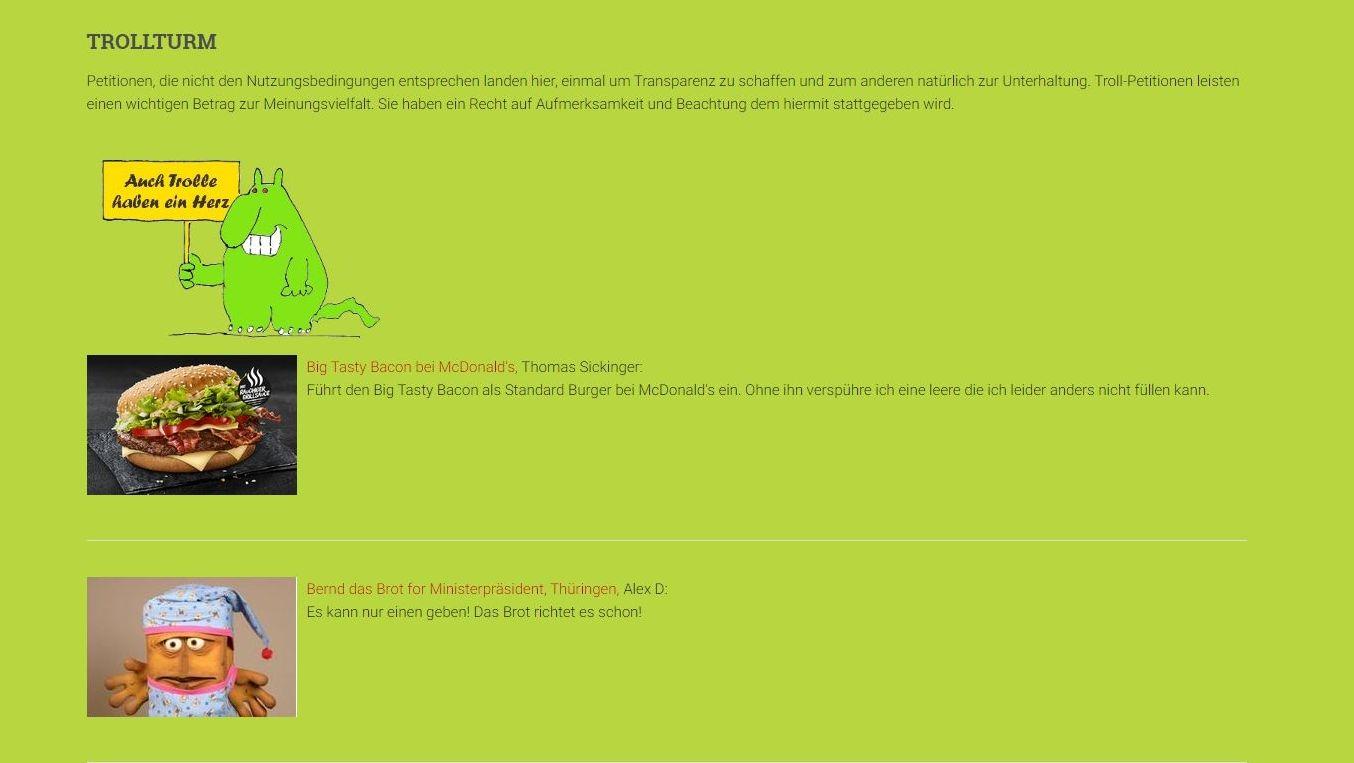 Der Trollturm auf der Online-Plattform Open Petition