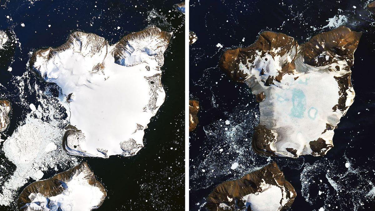Satellitenbilder der Insel Eagle Island im Vergleich.