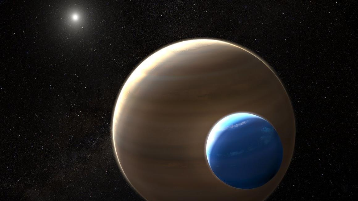 Künstlerische Darstellung eines Mondes um einen Planeten in einem anderen Sonnensystem: Ein Exomond von der Größe unseres Planeten Neptun könnte um den Exoplaneten Kepler 1625b kreisen, der etwa so groß ist wie Jupiter.