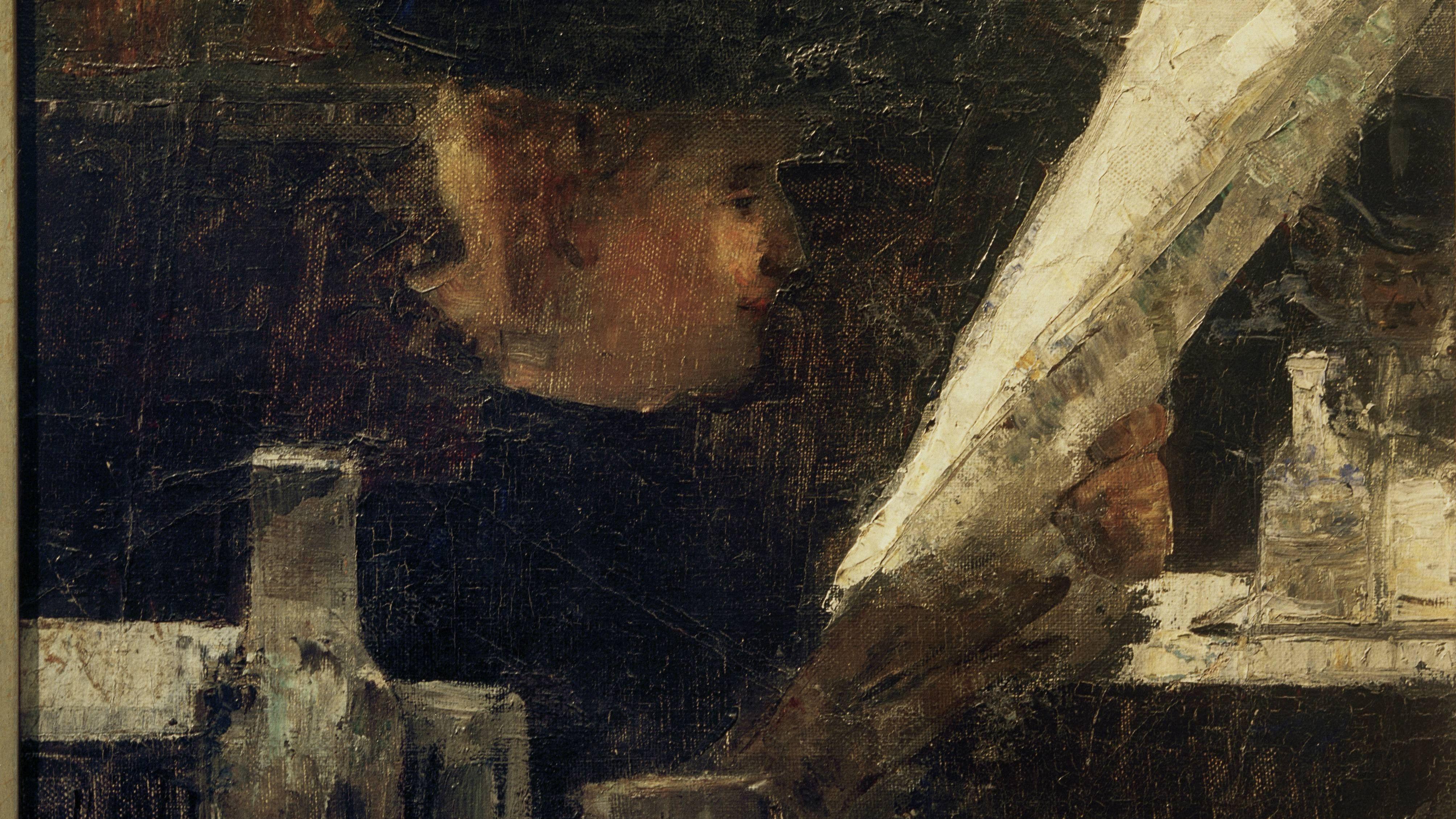 Gemälde einer Zeitung lesenden Dame am Tisch, sie trägt ein schwarzes Oberteil mit Stehkragen  und einen schwarzen Hut