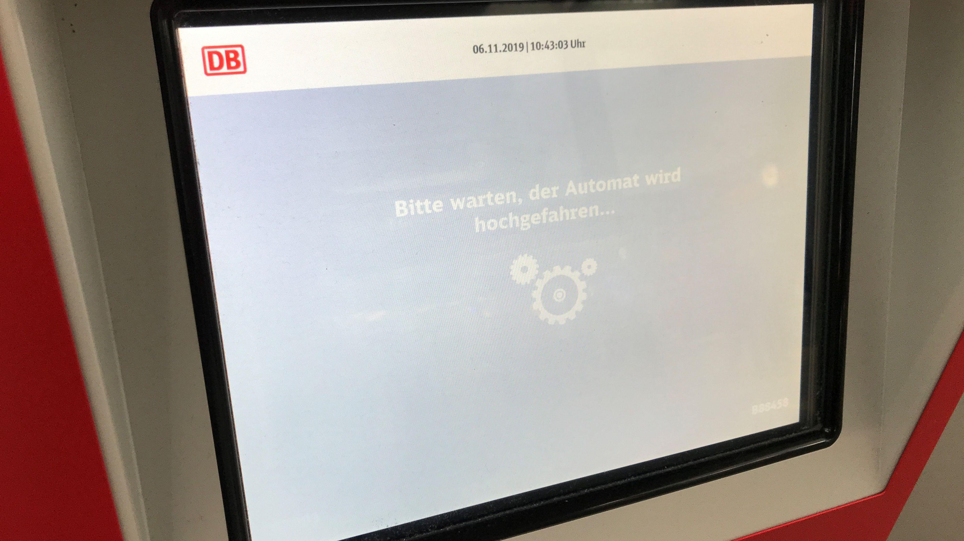 Störung am Fahrkarten-Automat der Bahn
