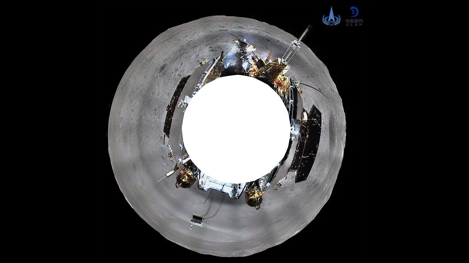 360-Grad-Rundblick der Kamera an Bord der chinesischen Mondsonde  Chang'e 4