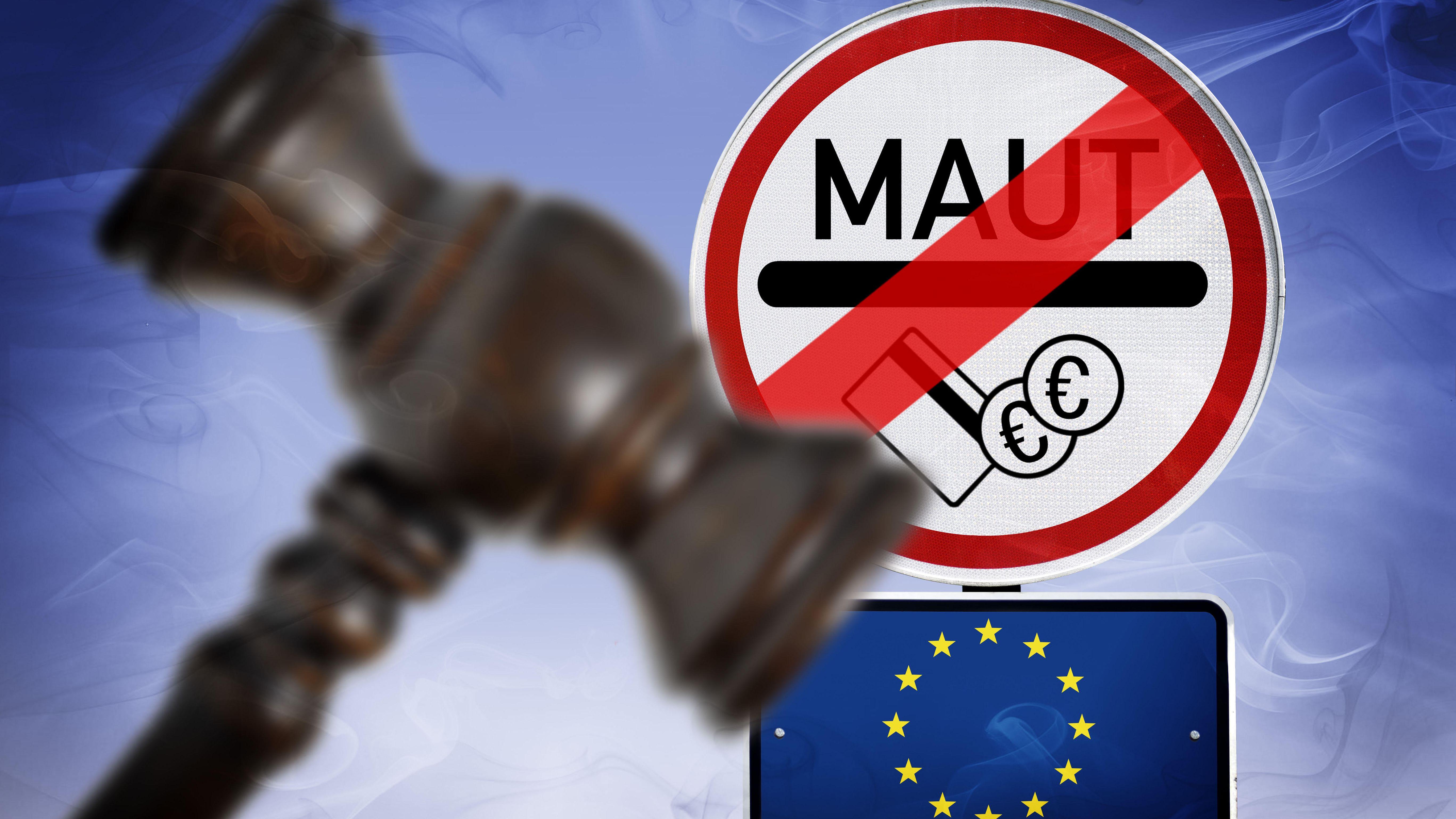 Durchgestrichenes Maut-Schild, EU-Schild und Richterhammer