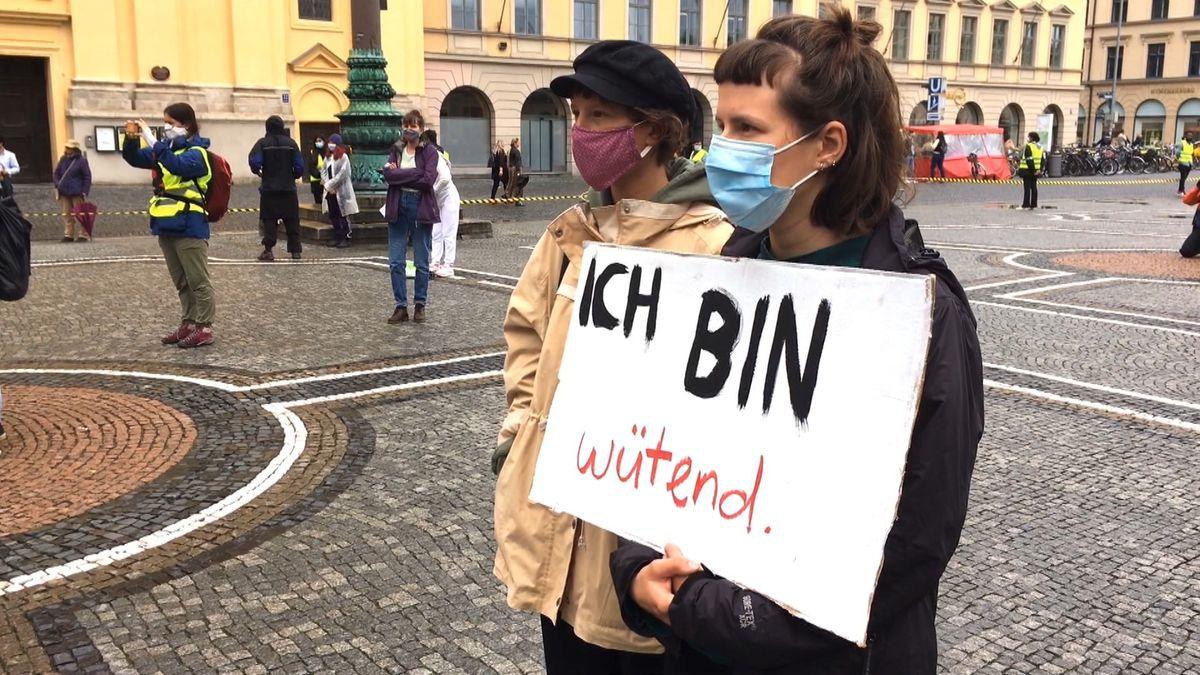 Demonstranten in München am Weltflüchtlingstag.