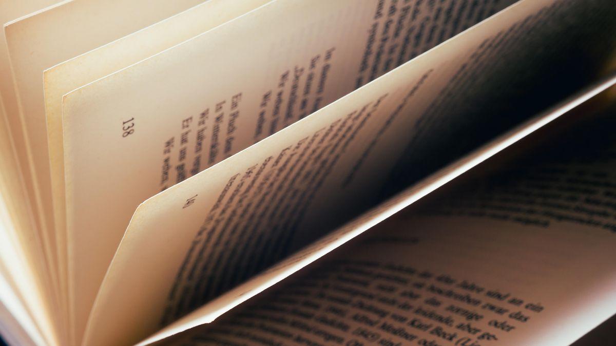 Nahaufnahme eines geöffneten und gefächerten Buches