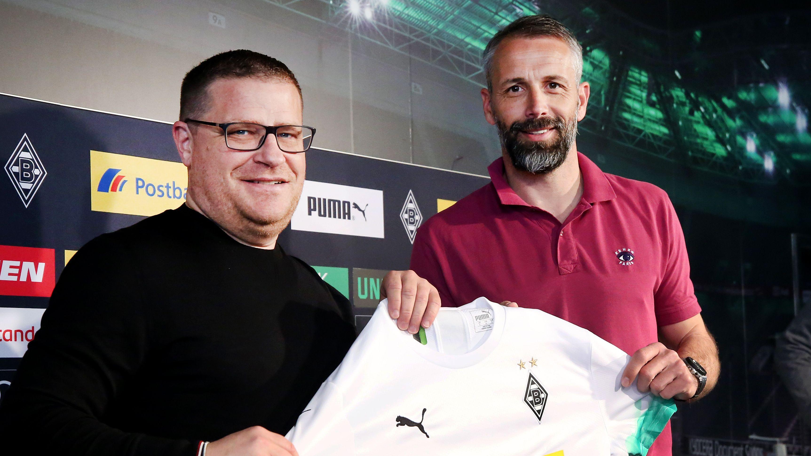 Sportdirektor Max Eberl und Cheftrainer Marco Rose