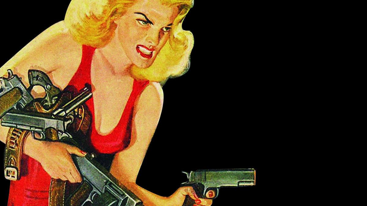Eine mit Gewehr und Pistole bewaffnete Blondine mit rotem freizügigen Kleid : Plakatmotiv des Eine mit Gewehr und Pistole bewaffnete Blondine mit rotem freizügigen Kleid neben der Ankündigung des vom 14. -23-2- laufenden Brechtfestivals Augsburg