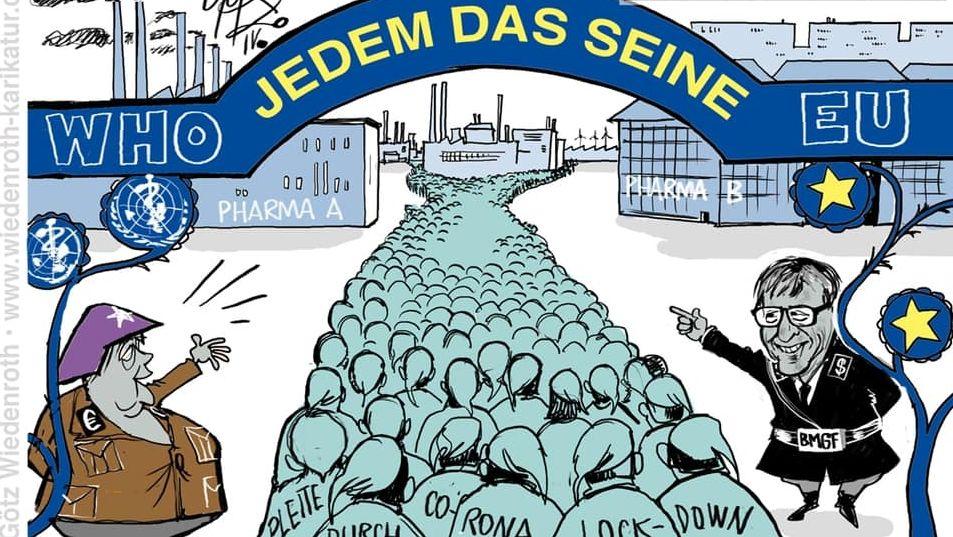 Angela Merkel und Bill Gates in Nazi-Uniform, der Lockdown als Konzentrationslager: Karikaturen, die den Holocaust relativieren.