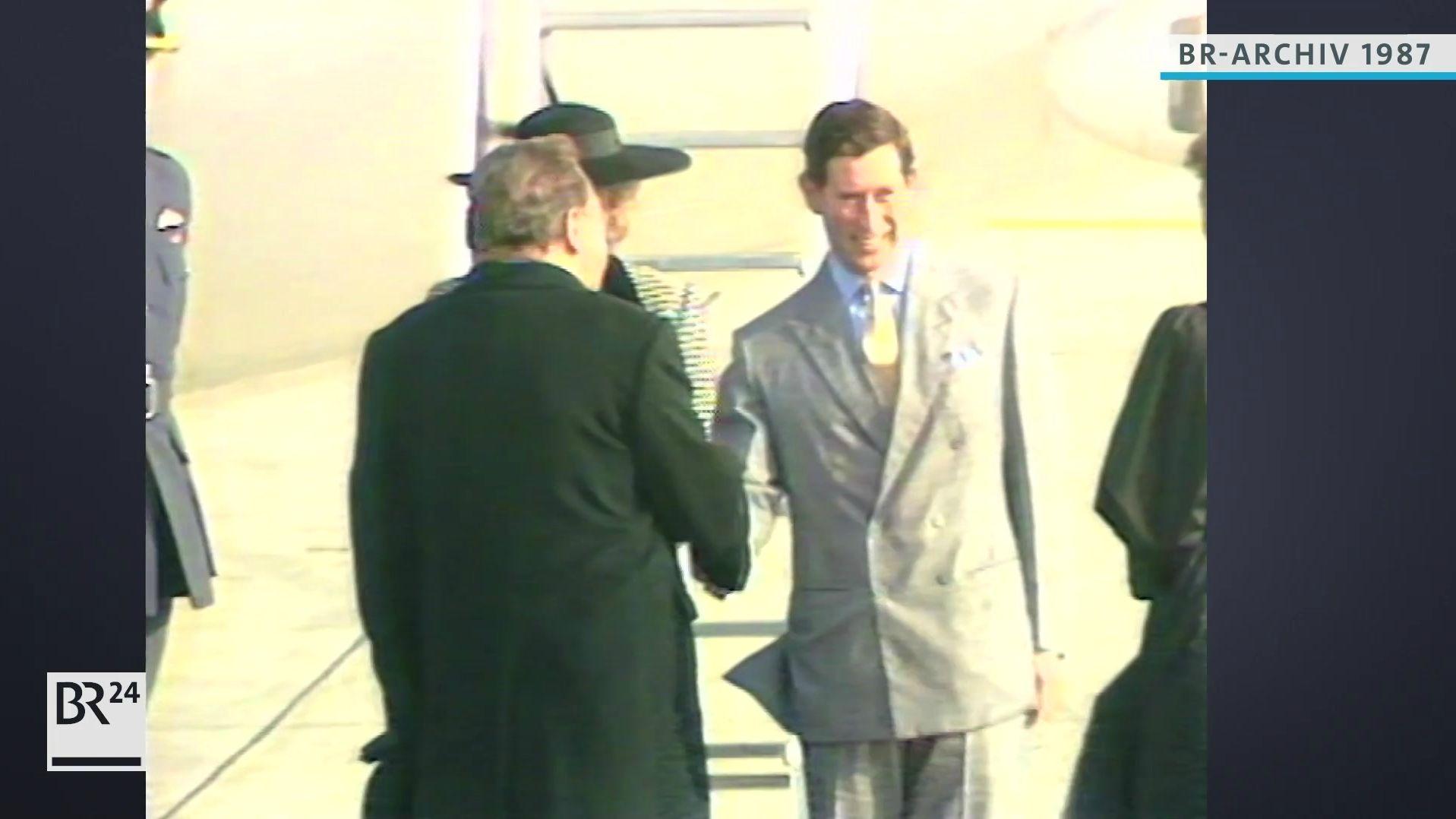 Franz Josef Strauß empfängt Prinz Charles und Prinzessin Diana am Flughafen