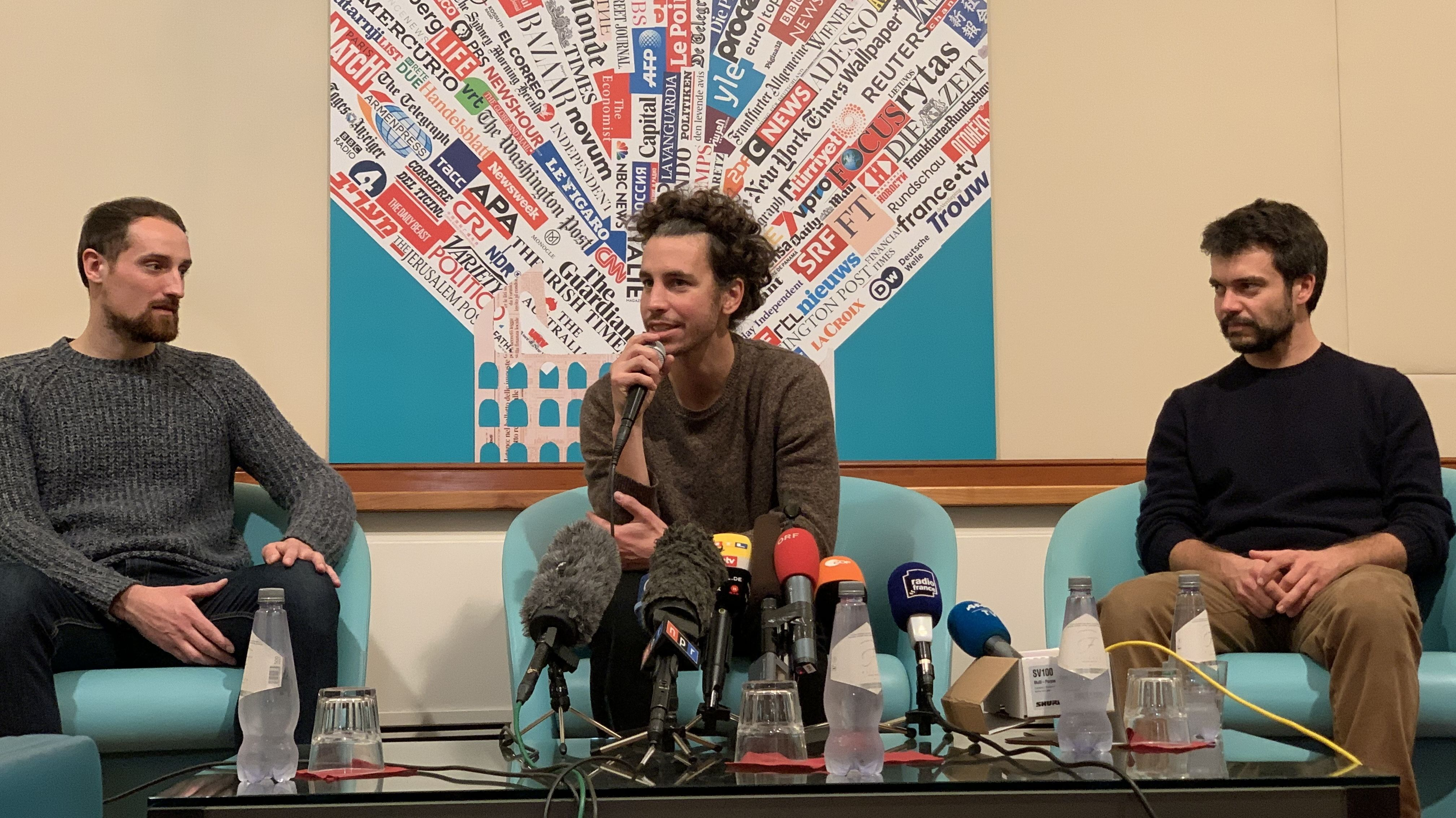 "Roberto Morotti, Mattia Santori und Andrea Garreffa, Gründer der ""Sardinen""-Bewegung"