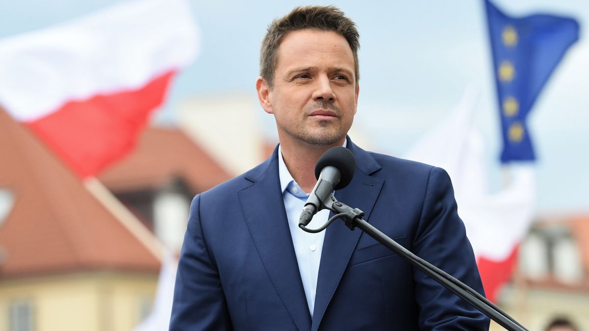 Trzaskowski bei einem Wahlkampfauftritt in Warschau.