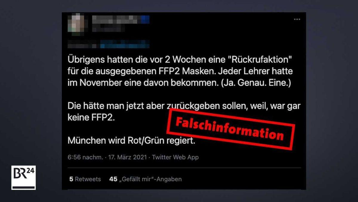 Auf Twitter behauptet ein User, Münchner Lehrer hätten ihre FFP2-Maske wieder zurückgeben müssen.