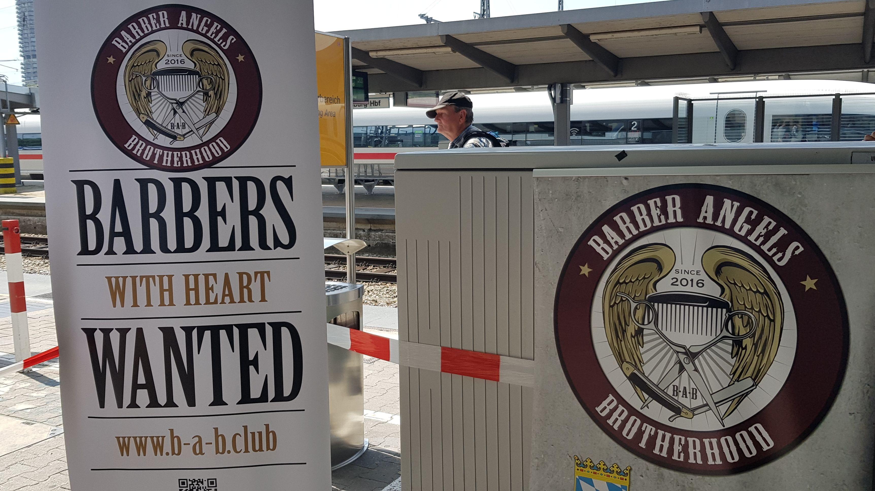 """Werbeplakat für den Verein """"Barber Angels Brotherhood""""."""