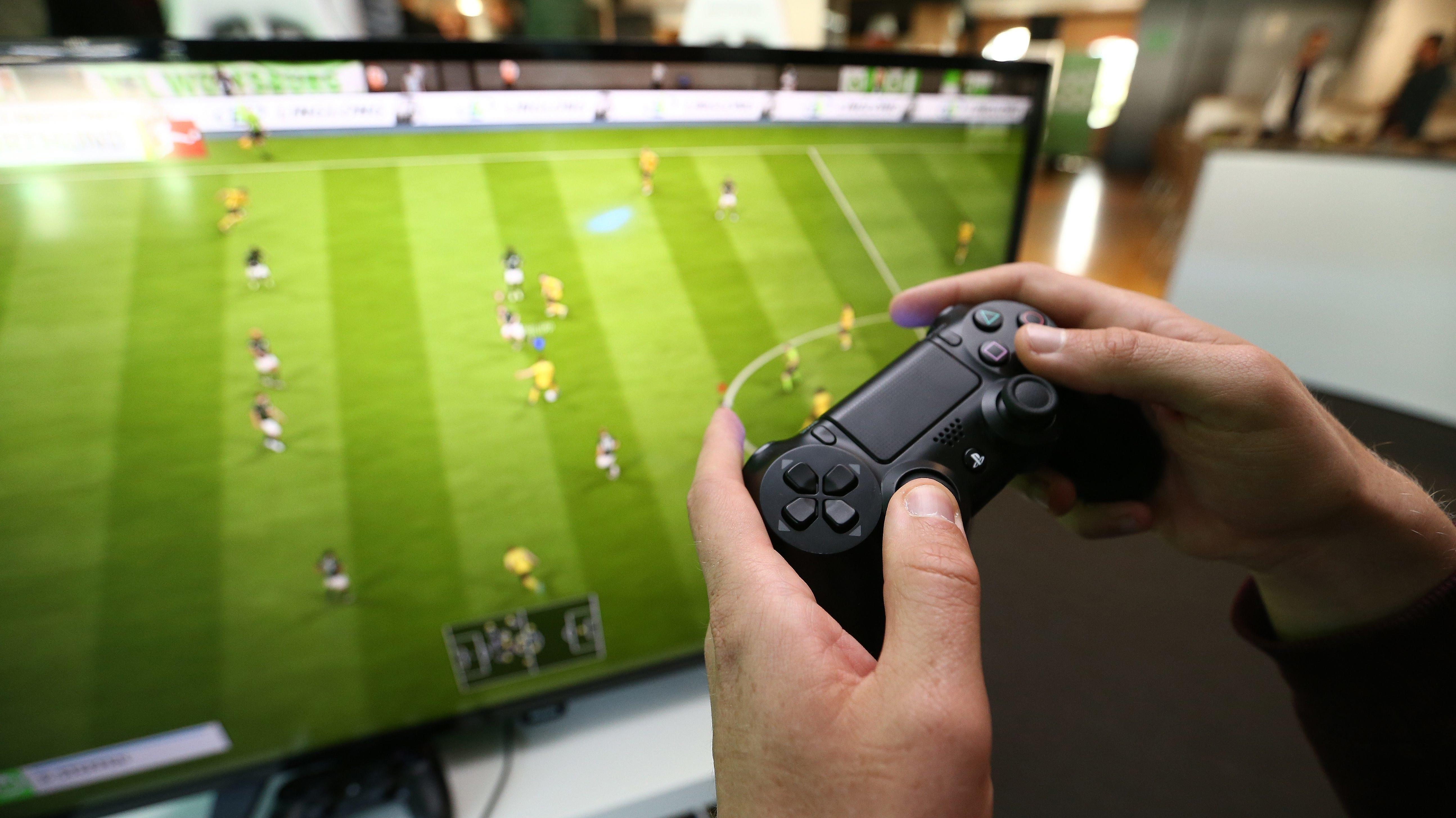 Fußballspiel auf einer Spielkonsole