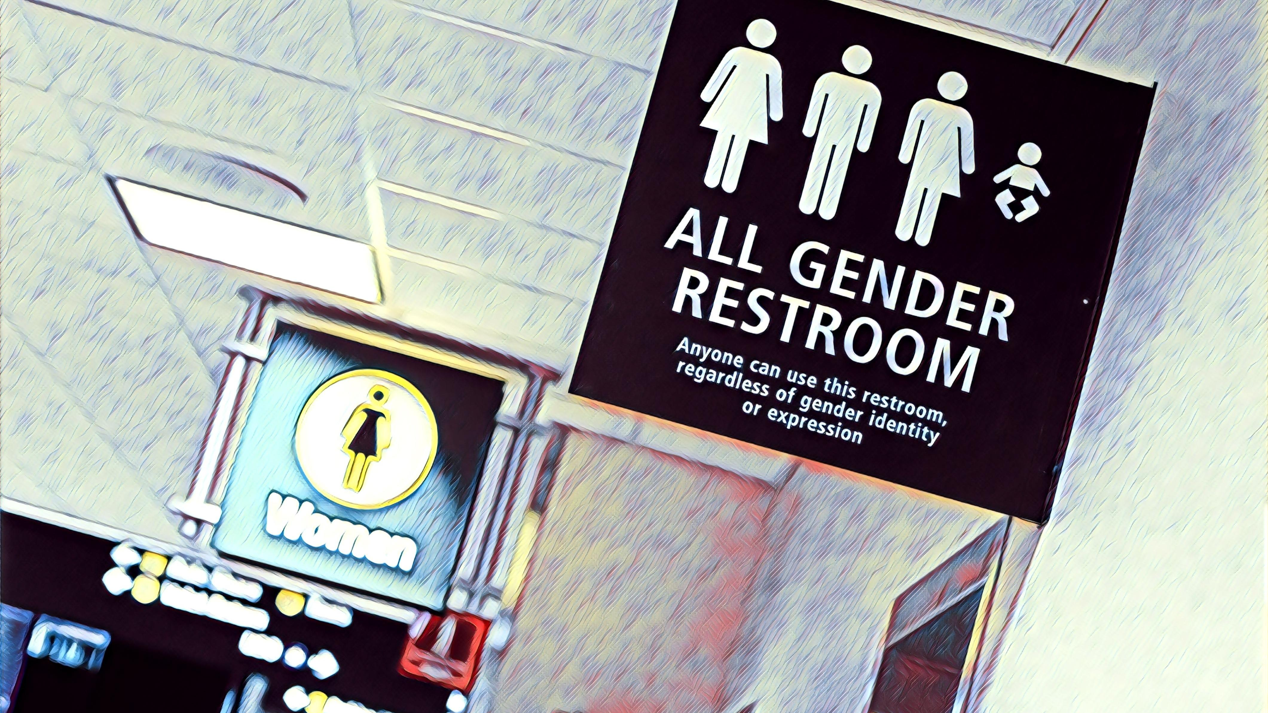 Wie umgehen mit den Geschlechtern in der Sprache? Geschlechtsneutrale Toilette am Flughafen San Diego.