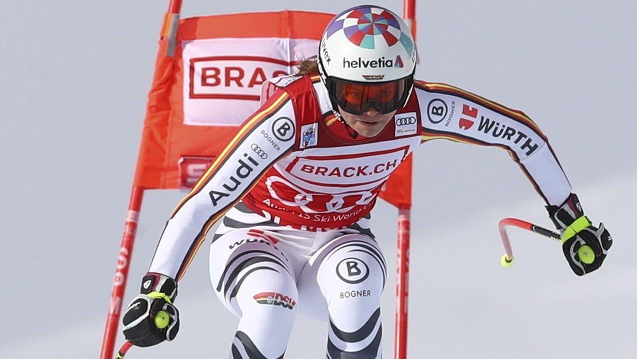 Viktoria Rebensburg auf der Strecke in St. Moritz