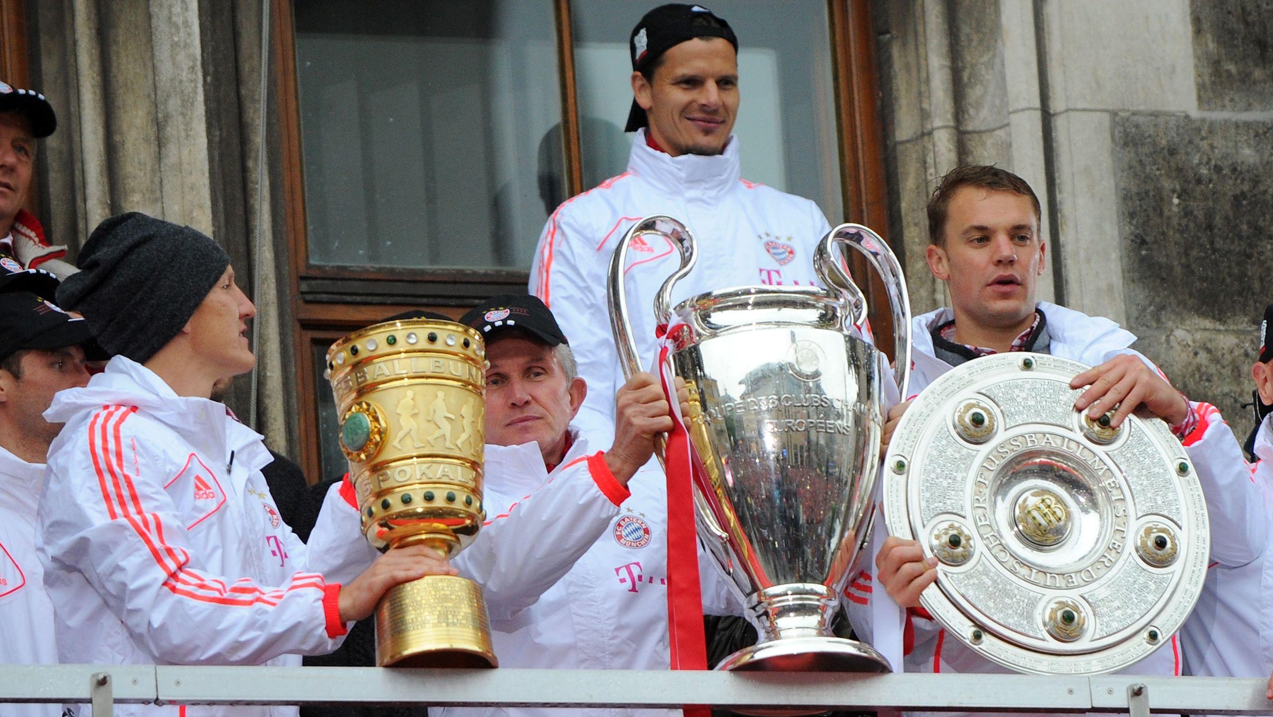 Manuel Neuer bei der Triple-Feier auf dem Münchner Rathausbalkon