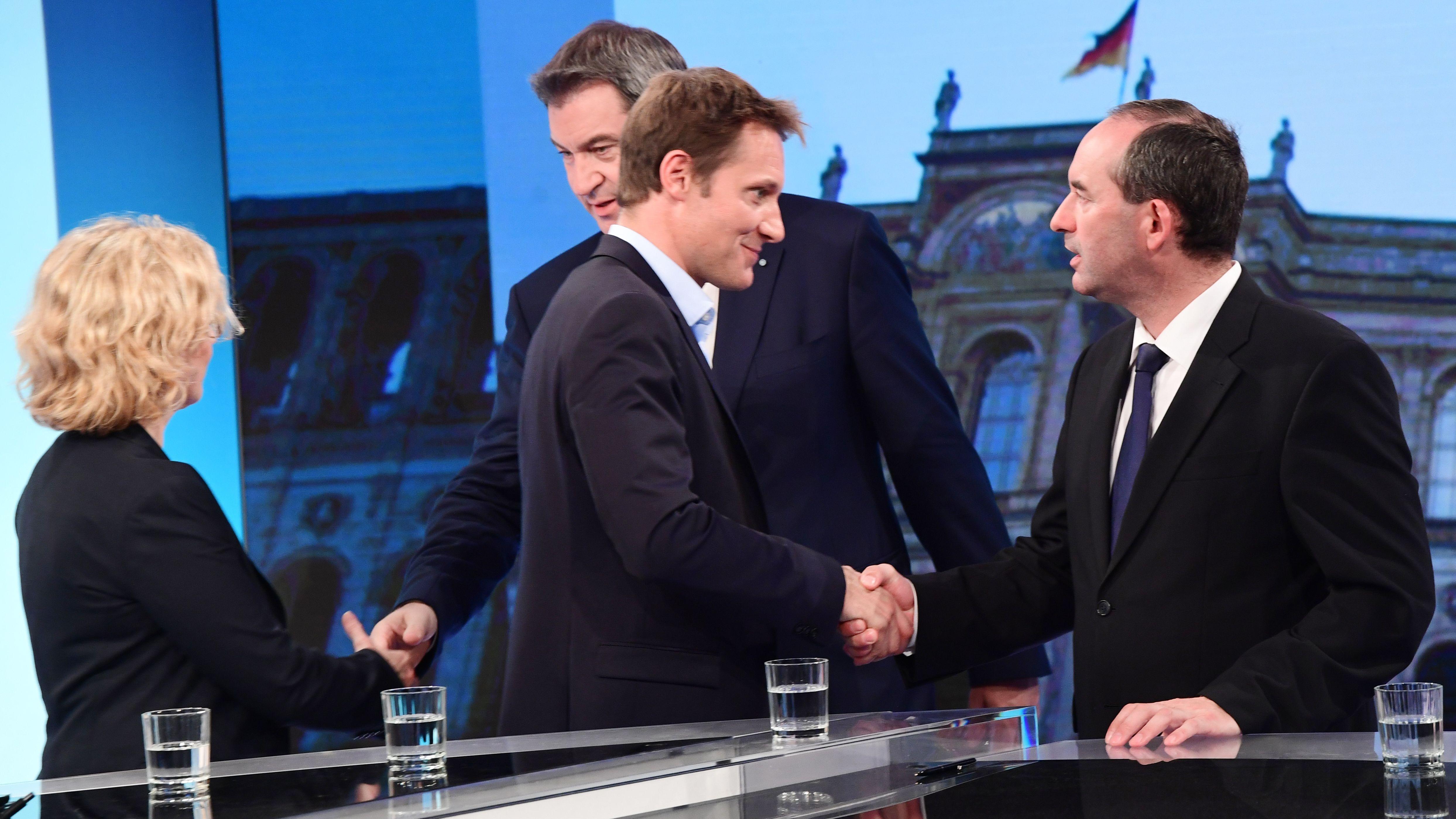 Archivbild: SPD-Landeschefin Kohnen, Ministerpräsident Söder, Grünen-Fraktionschef Hartmann und Freie-Wähler-Chef Aiwanger