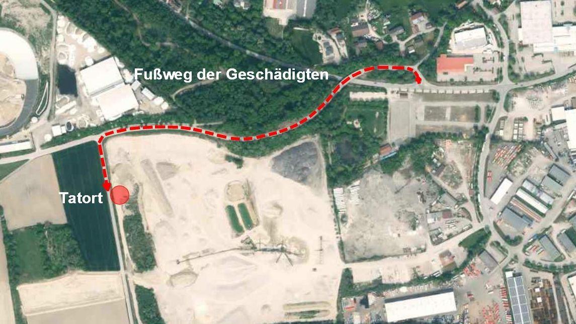 Foto zeigt den Fußweg des Opfers