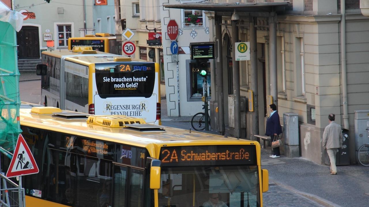 Stadtbusse am Regensburger Fischmarkt