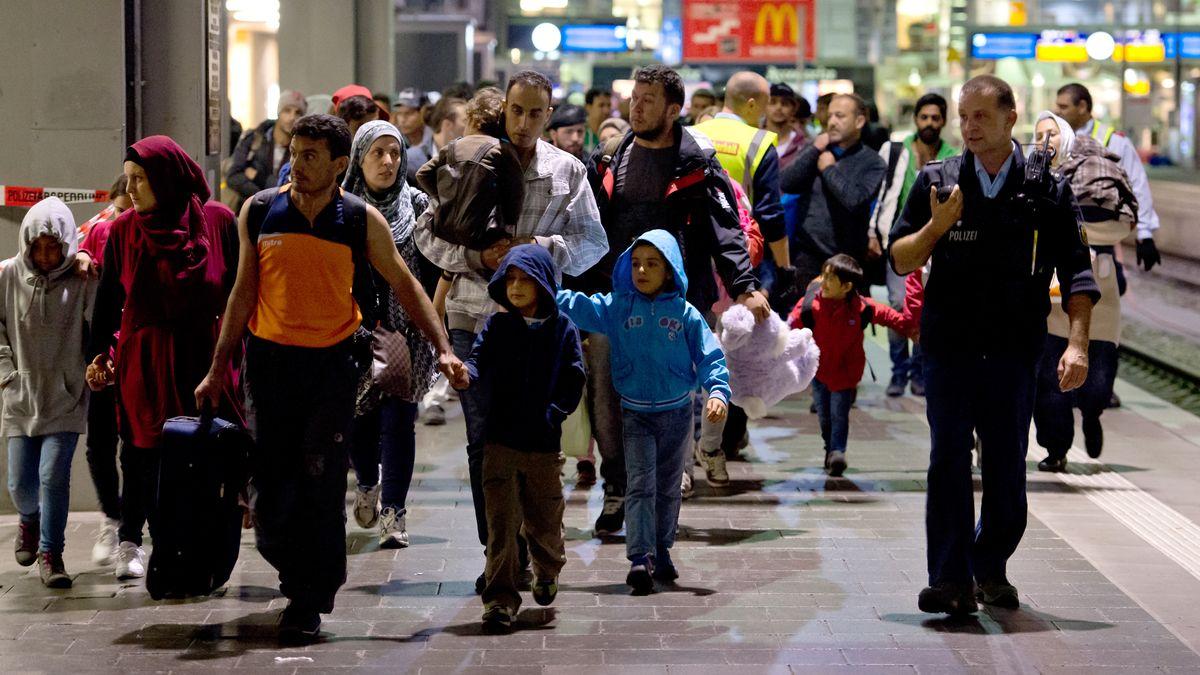 Ankunft von Flüchtlingen am Bahnhof München im September 2015