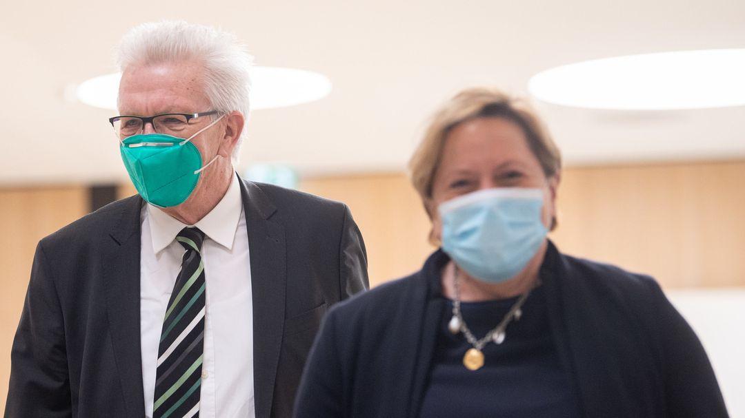 Winfried Kretschmann (Die Grünen), Ministerpräsident von Baden-Württemberg, und Susanne Eisenmann (CDU), Kultusministerin.