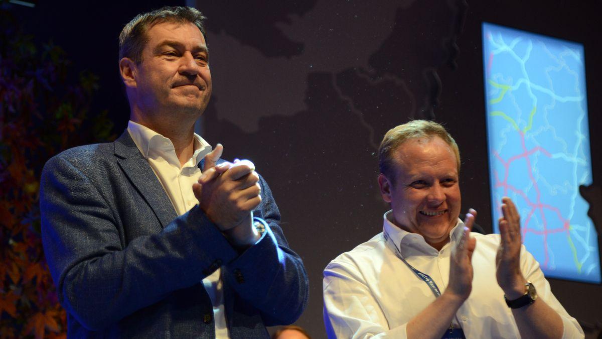 Archivbild: Söder und JU-Chef Kuban im Jahr 2019 beim Deutschlandtag der Jungen Union