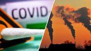 Ein Wattestäbchen als Symbol für die Coronakrise gegenüber rauchenden Kraftwerksschloten.  | Bild:Daniel Kubirski / Picture Alliance / Bildcollage: BR