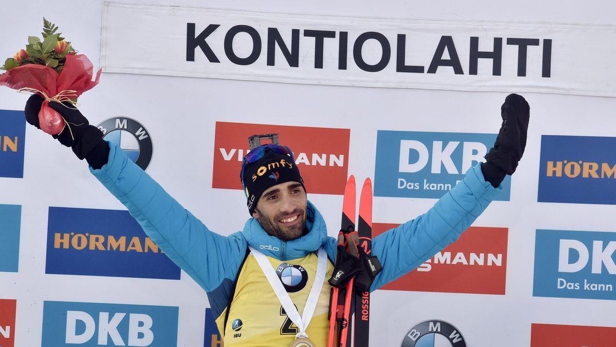Martin Fourcade feiert seinen letzten Sieg in Kontiolahti