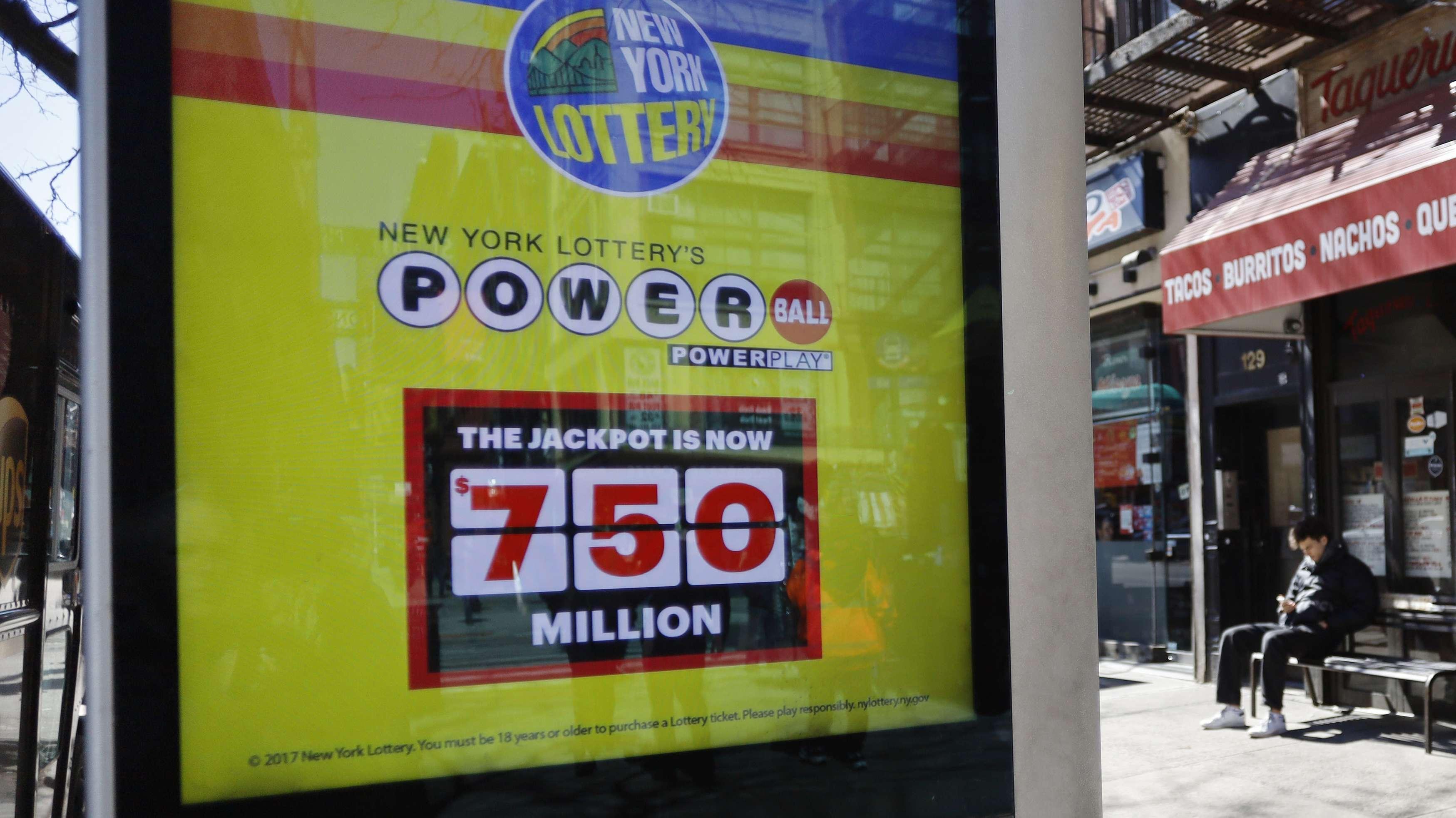 Hinweisschild auf den Jackpot der Powerball-Lotterie