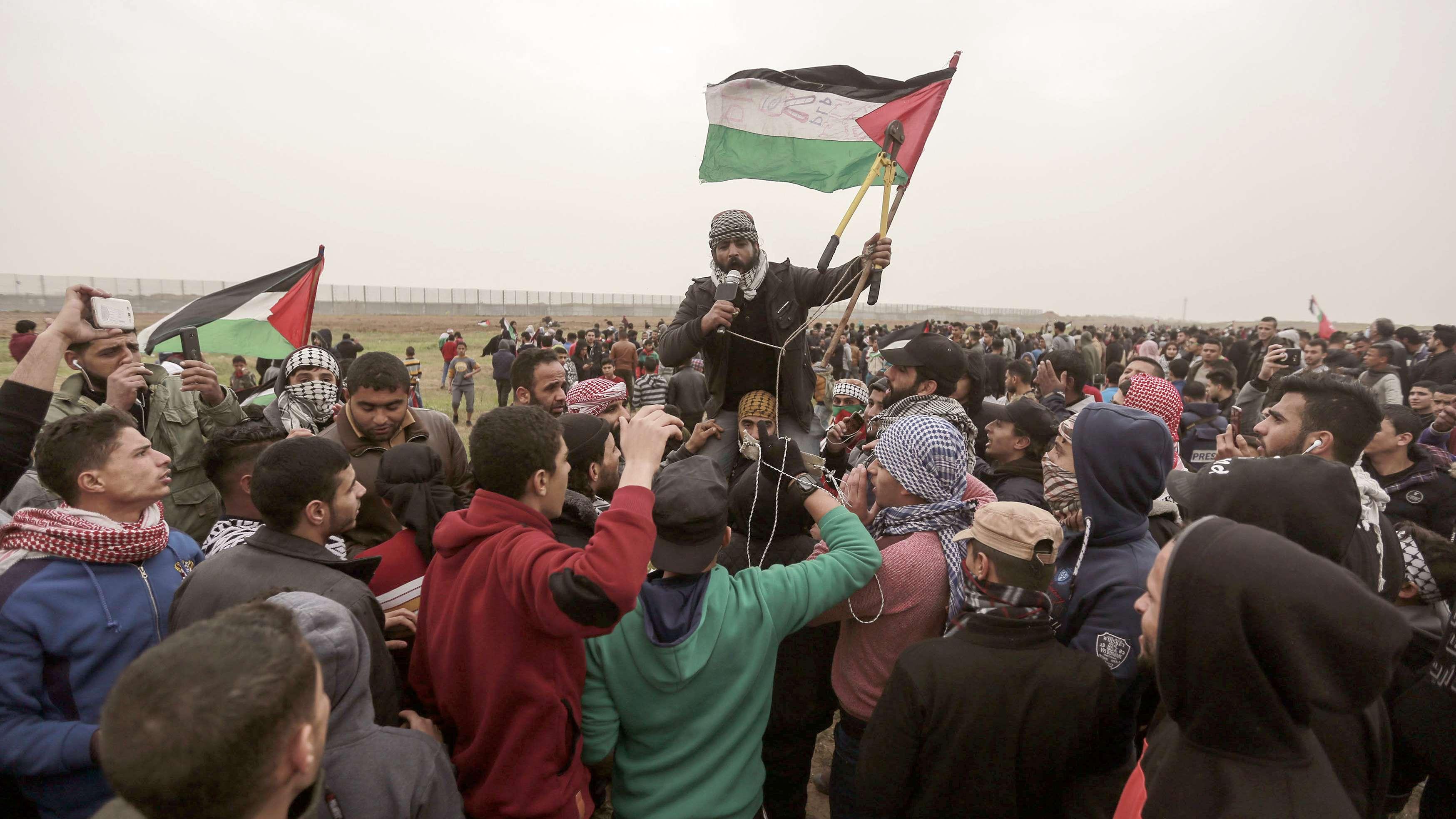 Demonstrationen an der Gaza-Grenze zum ersten Jahrestag der Proteste.