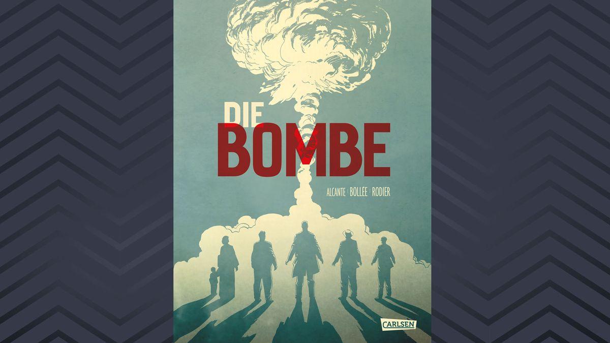 """Auf dem gezeichneten Cover der Graphic Novel """"Die Bombe"""" sieht man sechs Erwachsene und ein Kind, die erstarrt auf einen aufsteigenden Atompilz blicken"""