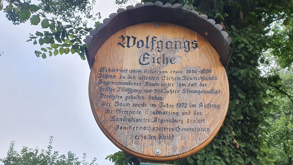 Das Schild vor der Eiche, gestiftet vom Gartenbauverein Thalmassing-Luckenpaint.