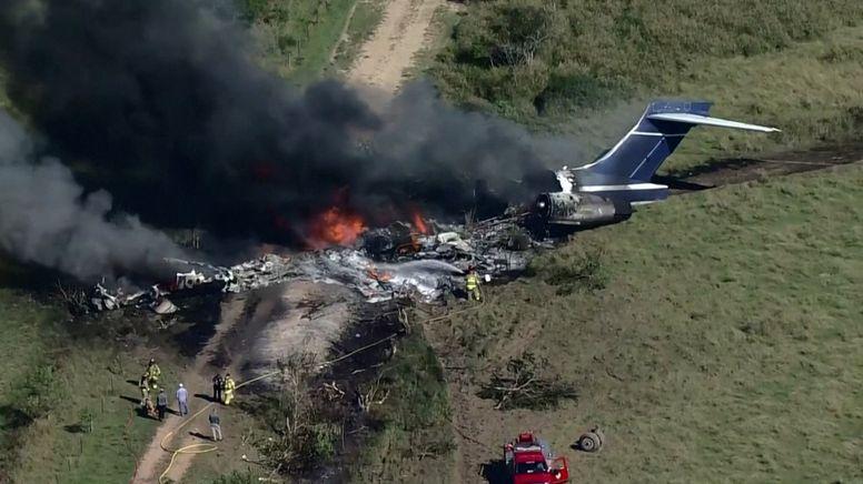 Ausgebranntes Wrack der abgestürzten Maschine   Bild:BR