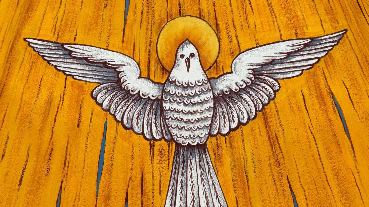 Die Taube als Symbol des Heiligen Geists- Detail im Schirmgewölbe über dem Altarplatz der evangelische Pfarrkirche von Krummenhennersdorf in Sachsen, einer Saalkirche im Stil der Neuromanik von Woldemar Kandler, erbaut 1899/1900, aufgenommen am 08.01.2010.