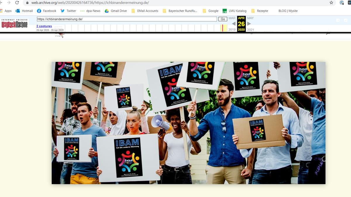 Ein Screenshot zeigt ein manipuliertes Stockfoto, mit dem die Seite zu Demonstrationen aufruft. (Stand: 05.04.2020)