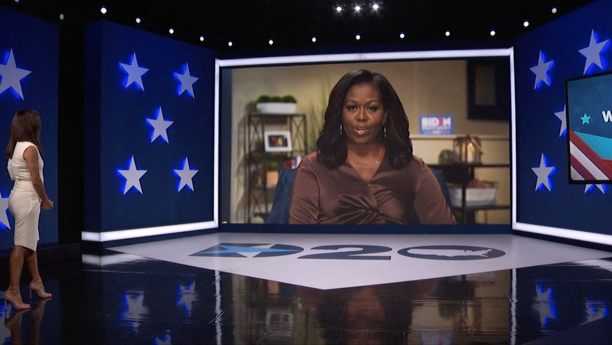 Die ehemalige First Lady Michelle Obama auf dem Bildschirm bei dem virtuellen Parteitag der US-Demokraten