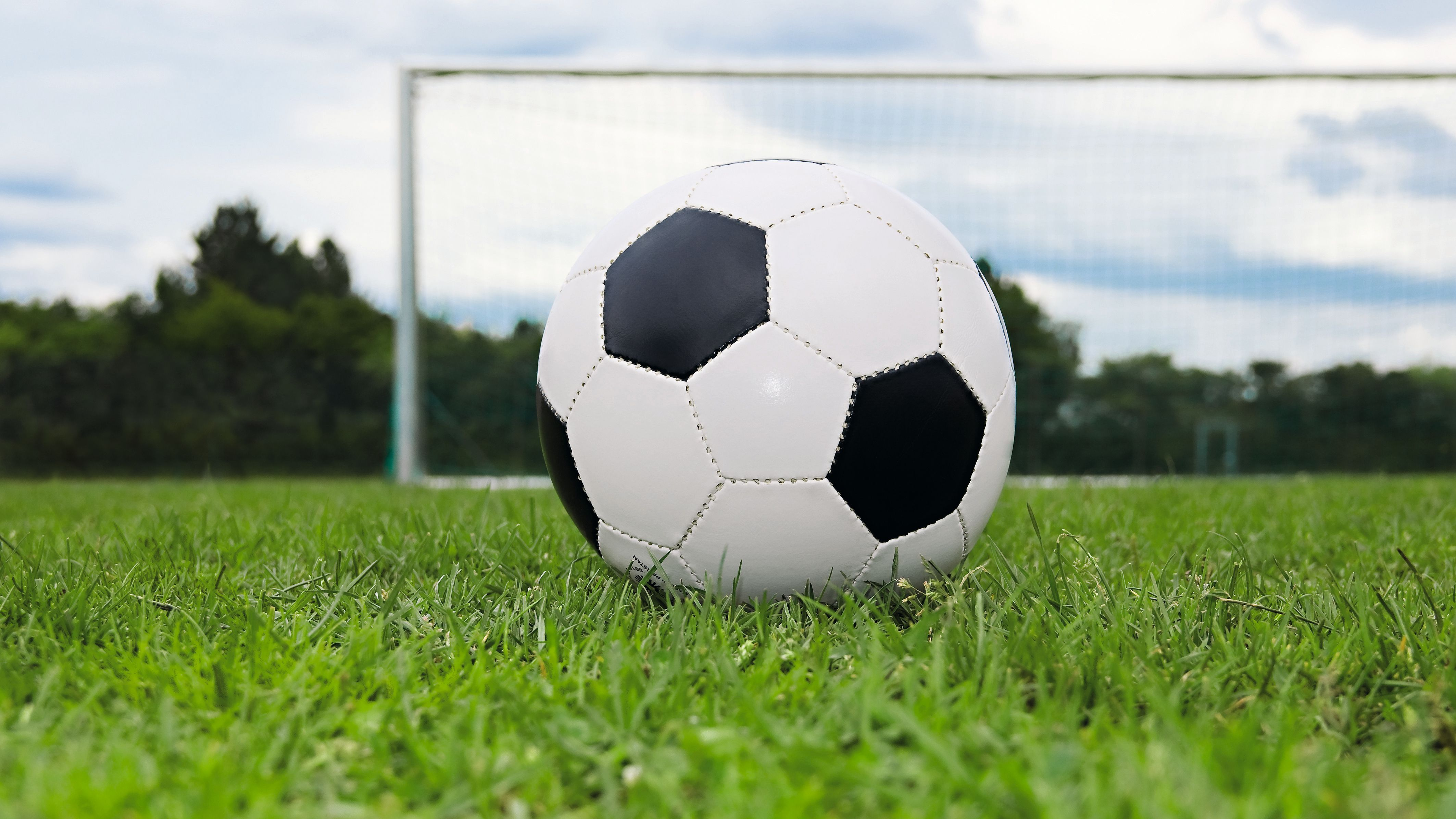 Fußball liegt auf dem Rasen vor einem Tor (Symbolbild)