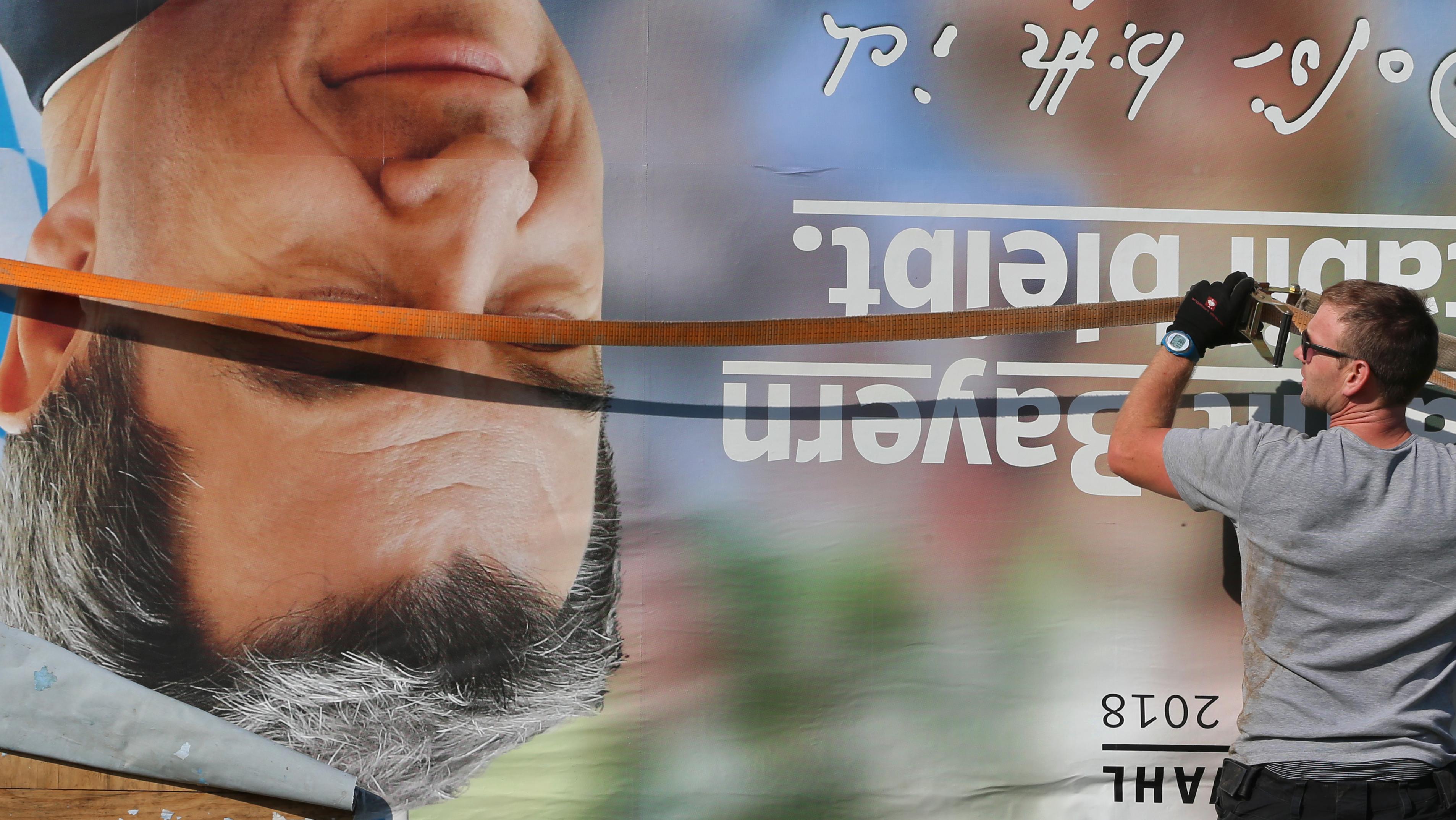 Wahlplakat mit dem Kopf von Markus Söder