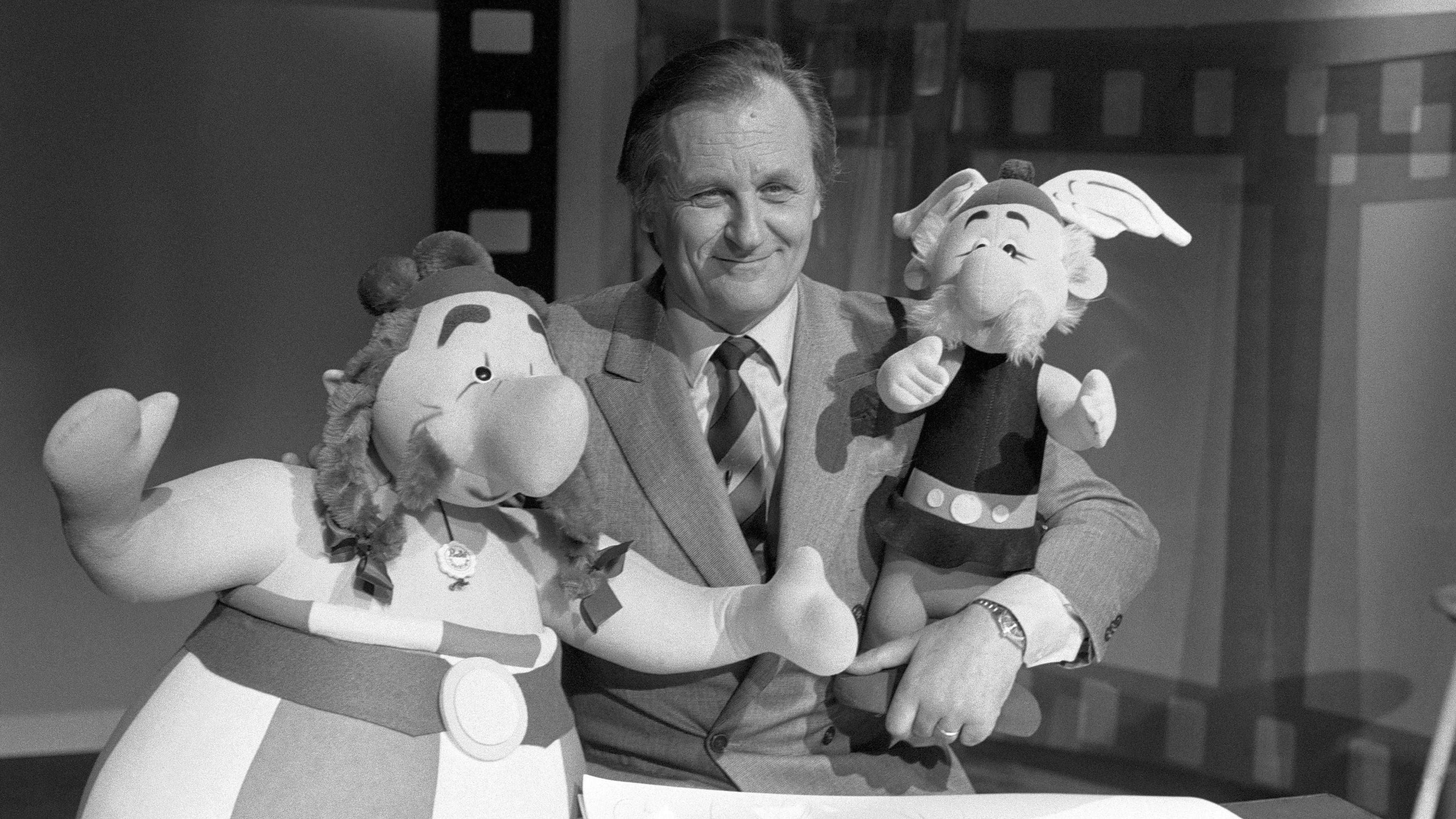 Alberto Uderzo mit Asterix und Obelix