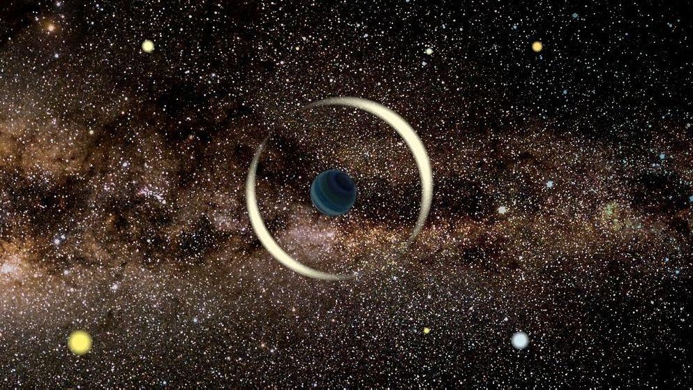 Die künstlerische Darstellung zeigt einen kleinen, dunklen Planeten, der vor einem Stern vorüberzieht und aufgrund des Mikrograviationslinsenffekts dessen Lichts bündelt wie eine Linse.