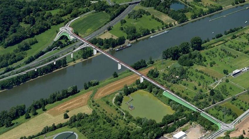 Geplante Mainbrücke in Kleinwallstadt (Lkr. Miltenberg)