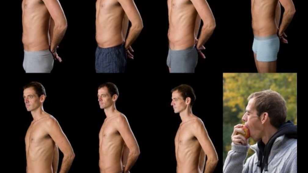 Foto-Tagebuch von Timm Kruse zu seiner 40-Tage-Fastenaktion: Mehrere Fotos von ihm mit nacktem Oberkörper