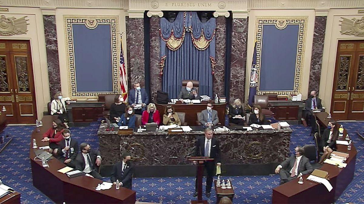 Trumps Verteidiger Michael van der Veen spricht am 13.02.2021 im 2. Impeachment-Verfahren gegen Donald Trump.