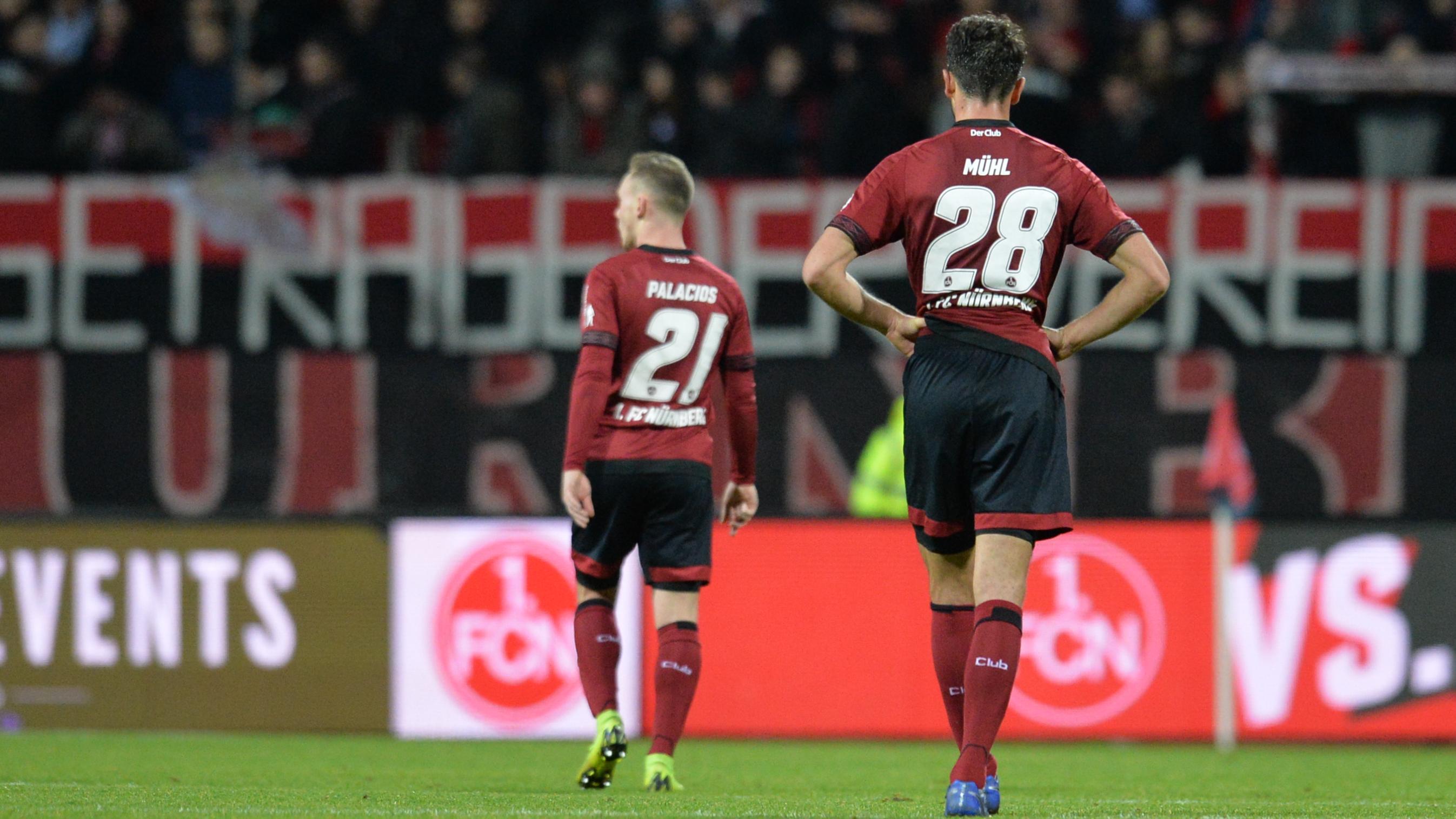 Enttäuschte Nürnberger Spieler
