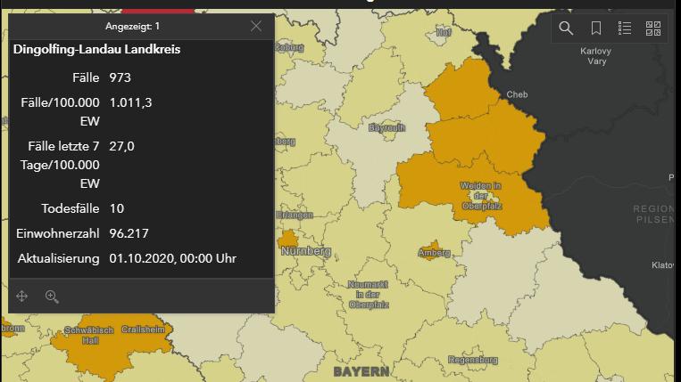 Ausschnitt aus der digitalen Karte des RKI